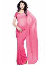 Khushali Fashion Georgette Plain Saree(Pink)_JAZZ519