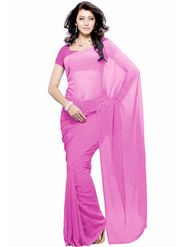 Khushali Fashion Georgette Plain Saree(Orange)_JAZZ529