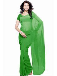 Khushali Fashion Georgette Plain Saree(Light Green)_JAZZ542