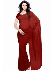 Khushali Fashion Georgette Plain Saree(Maroon)_JAZZ575
