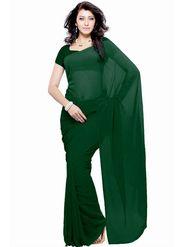 Khushali Fashion Georgette Plain Saree(Dark Green)_JAZZ579