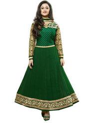 Javuli Georgette Embroidered  Dress Material - Green - kavya-darkGreen