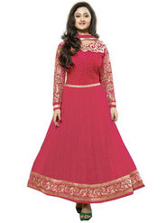 Javuli Georgette Embroidered  Dress Material - Pink - kavya-Pink