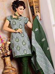 Kalazone Embroidered Cotton Dress Material - Green & Grey
