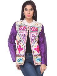 Lavennder Khadi Embroided Summer Jacket -LJ-24106