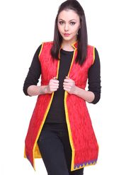 Lavennder Cotton-Silk Reversible Jacket - Red and Yellow