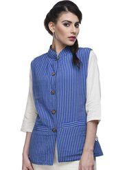 Lavennder Khadi Line Print Nehru Jacket - Blue