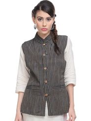 Lavennder Khadi Line Print Nehru Jacket - Black