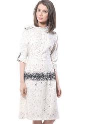 Meira Printed Poly Crepe Women's Dress - White _ MEWT-1094-A-White