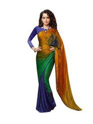 Nanda Silk Mills Pure CREPE Printed Saree - Multicolour