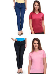 Oleva Combo Of  4 Blue & Black Denim + Red & Maroon T-Shirt ONC-44