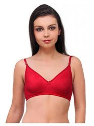 Oleva Cotton Plain Bra - Dark Red