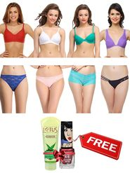 Pack Of 4 Clovia Cotton &  Nylon Solid Bra & Panty -Comnaap01