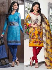 Pack Of 2 Priya Fashions Cotton Printed Dress Material - PFS2CH