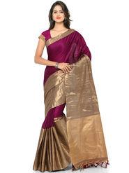 Nanda Silk Mills Handloom Pink & Gold Plain Cotton Silk Saree -nad09