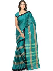 Nanda Silk Mills Handloom Turquoise & Gold Plain Cotton Silk Saree -nad11