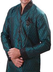 Runako Regular Fit Elegant Silk Brocade Sherwani For Men - Green_RK1062
