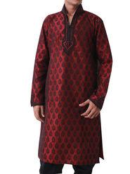 Runako Regular Fit Silk Brocade Kurta Pyjama For Men - Maroon_RK4020