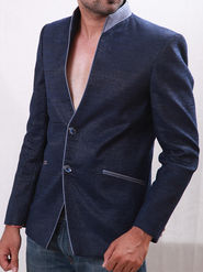 Runako Solid Regular Full Sleeves Party Wear Blazer For Men - Blue