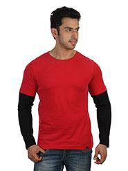 Rigo Plain Round Neck Full Sleeves Cool T-Shirt For Men - Red & Black