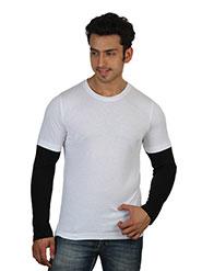 Rigo Plain Round Neck Full Sleeves Cool T-Shirt For Men - White & Black