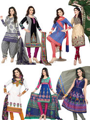 Pack of 7 Silkbazar Blended Cotton Printed Dress Material