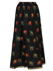 Amore Printed Cotton Skirt -Skv036Bk