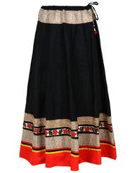 Amore Plain Cotton Embellished Skirt -Skv075Bk