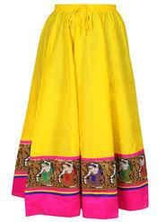 Amore Plain Cotton Embellished Skirt -Skv112Y