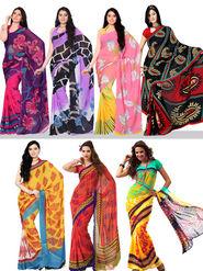 Set of 7 Rekha Georgette Sarees (7G7) - AKSO