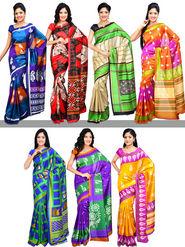 Set of 7 Art Silk Sarees (7A1) - AKSO