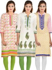 Pack of 3 Cotton Jaipuri Printed Kurtis - By Manukunj