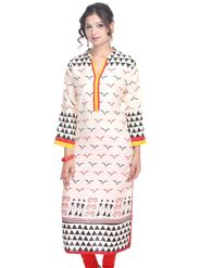 Shop Rajasthan 100% Pure Cotton Printed Kurti - White - SRE2223