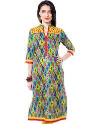 Shree Cotton Printed Kurti - Multicolor - 15110A