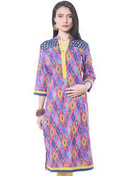 Shree Cotton Printed Kurti - Multicolor - 15110B