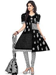 Silkbazar Printed Cotton Dress Material - Black & White