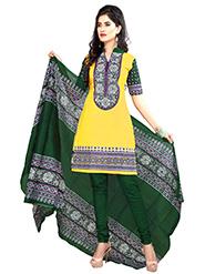 Silkbazar Printed Cotton Dress Material - Yellow & Green