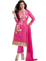 Thankar Semi Stitched  Chanderi Cotton Embroidery Dress Material Tas290-5307A