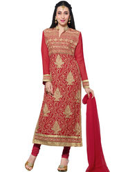 Thankar Embroidered Faux Georgette Semi-Stitched Suit  -Tas331-20018