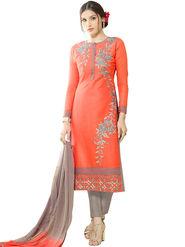 Thankar Embroidered Chanderi Cotton Semi-Stitched Suit -Tas332-3161