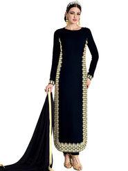 Thankar Zari & Thread Embroidered Georgette Semi Stitched Straight Suit -Tas392-5995B