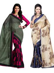 Pack of 2 Thankar Printed Bhagalpuri Saree -Tds137-185.186