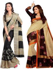 Pack of 2 Thankar Printed Bhagalpuri Saree -Tds137-195.196