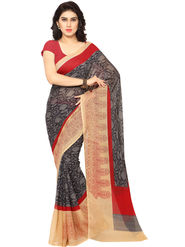 Triveni Printed Art Silk Grey Saree-trv03