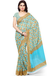 Triveni Printed Art Silk Sky Blue Saree-trv04