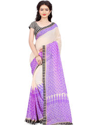 Triveni Printed Art Silk Purple Saree-trv07