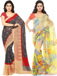Combo of 2 Triveni Printed Art Silk Yellow Sarees -Tsco109