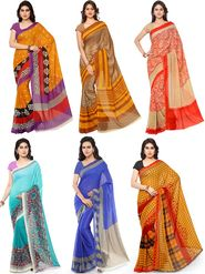 Combo of 6 Triveni Printed Pure Bhagalpuri Sarees -tv02