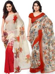 Combo of 2 Triveni Printed Faux Georgette Off White Sarees -Tsco99