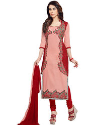 Triveni's Blended Cotton Embroidered Dress Material -TSMDESK1060